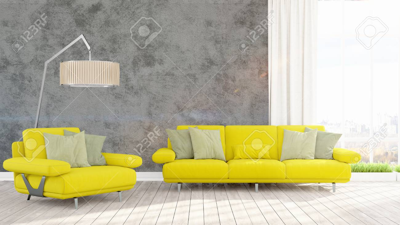 Beautiful living room interior with modern yellow sofa. 3D rendering
