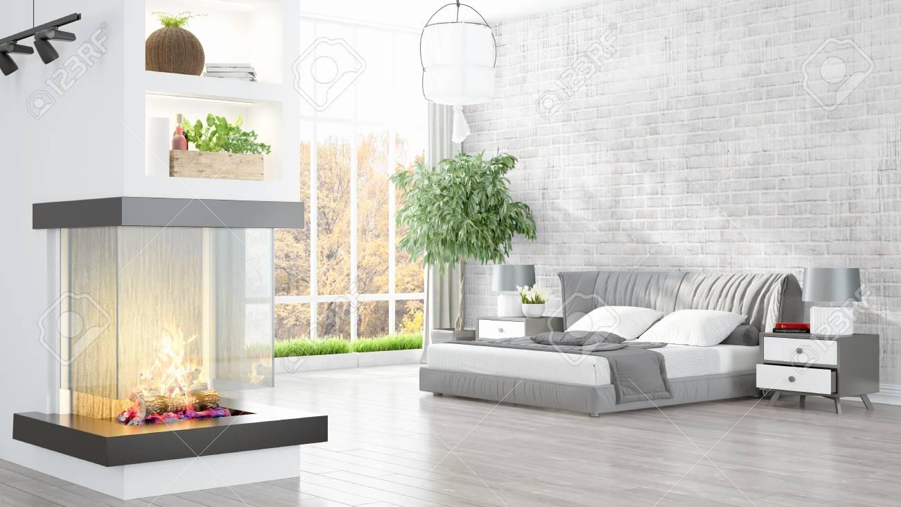 Schone Moderne Wohnzimmer Innenraum Mit Kamin 3d Rendering