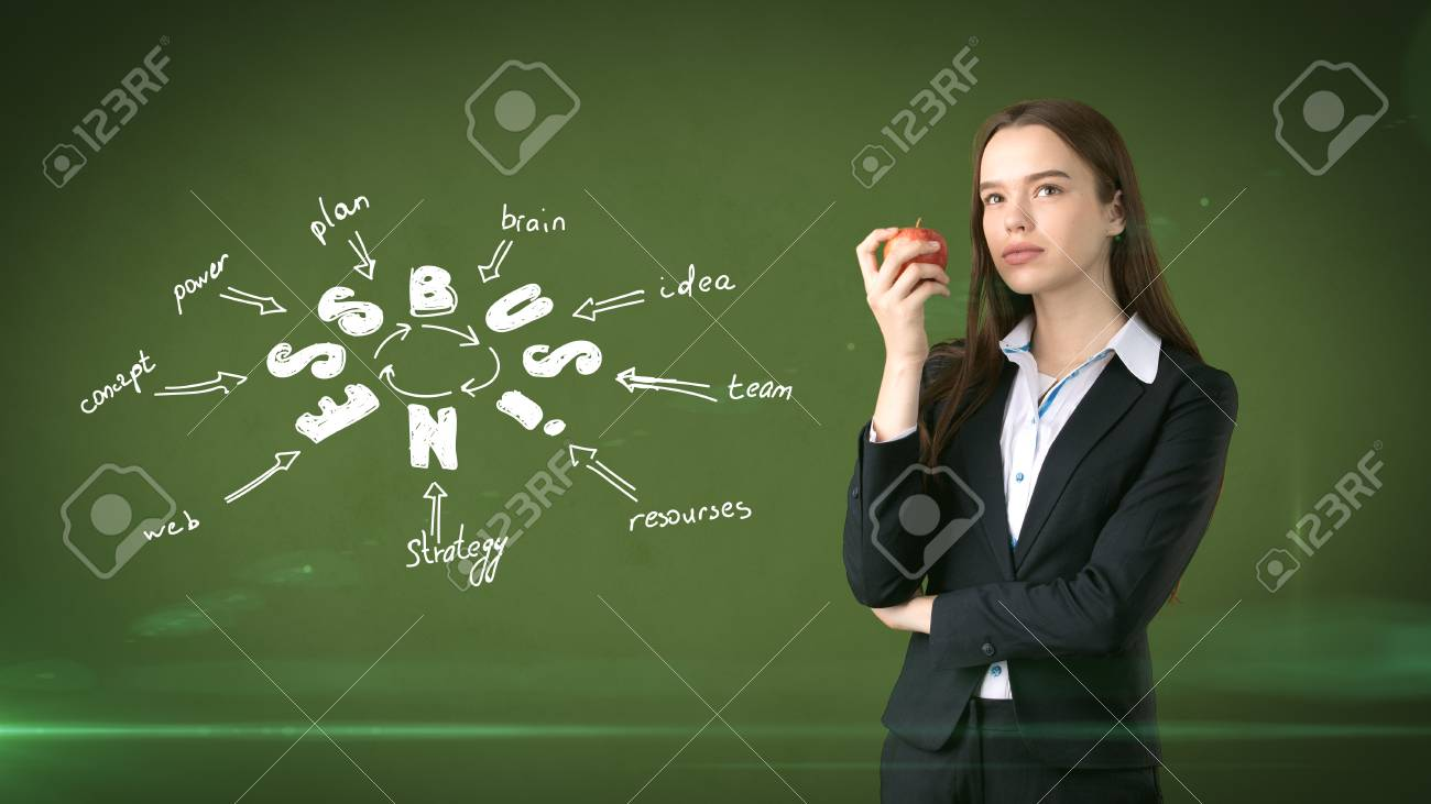 Woman In A Suit Holding Red Apple Standing Near Wall With Business Idea Sketch Drawn On