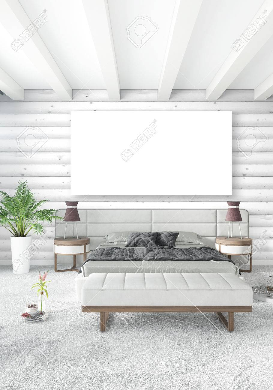 White Bedroom Minimal Modern Or Loft Style Interior Design With Stock Photo Picture And Royalty Free Image Image 84744169