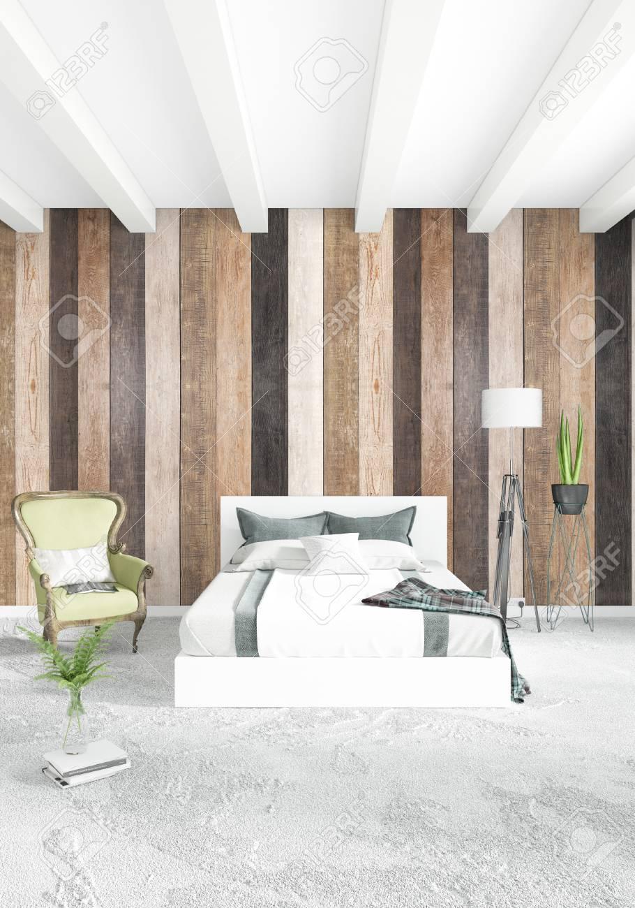Dormitorio Blanco Diseno Moderno O Loft Moderno Del Estilo Del Loft - Dormitorio-diseo-moderno