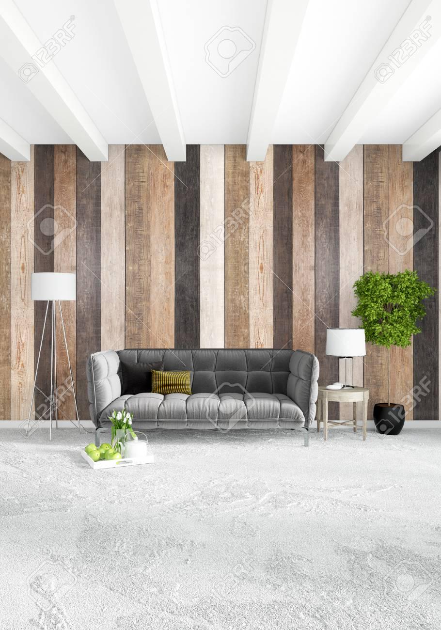 Weißes Schlafzimmer Minimaler Stil Innenarchitektur Mit Holzwand.  3D Rendering. 3D Darstellung Standard