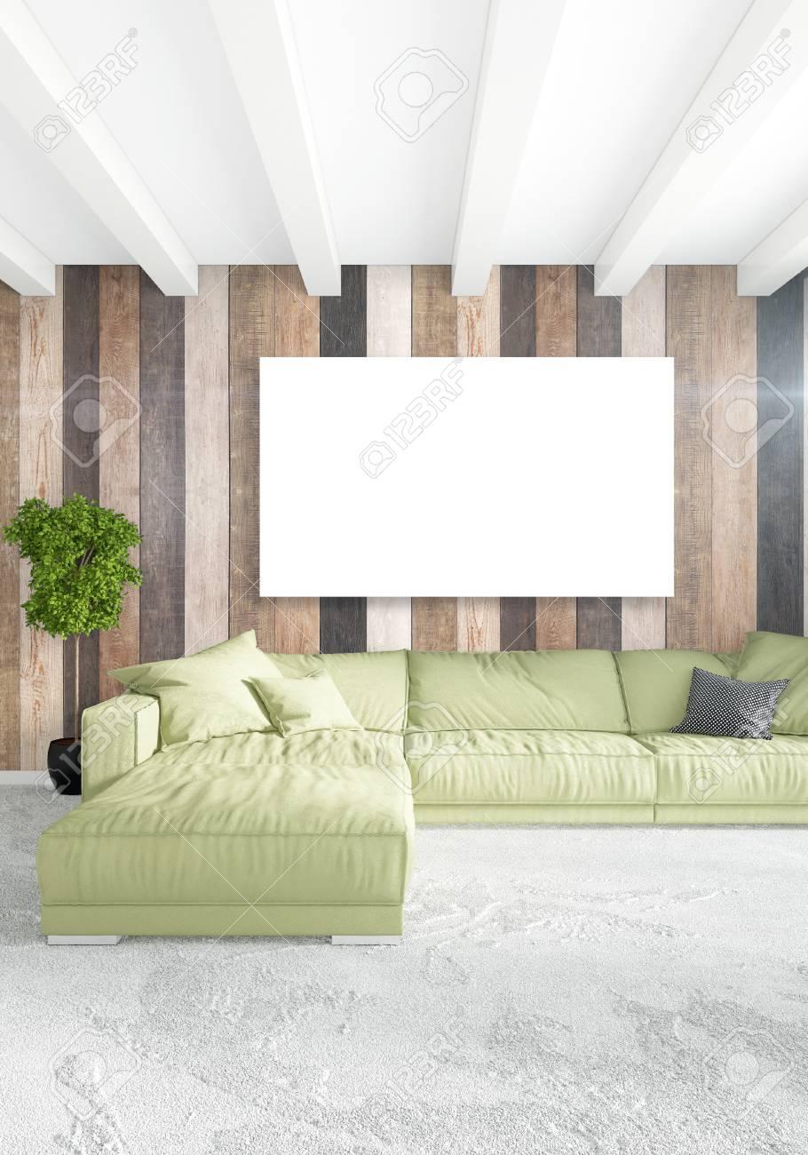 Chambre blanche intérieur minimaliste ou style loft illustration moderne  avec mur de bois et copyspace dans un cadre vintage . 3d 3d de conception