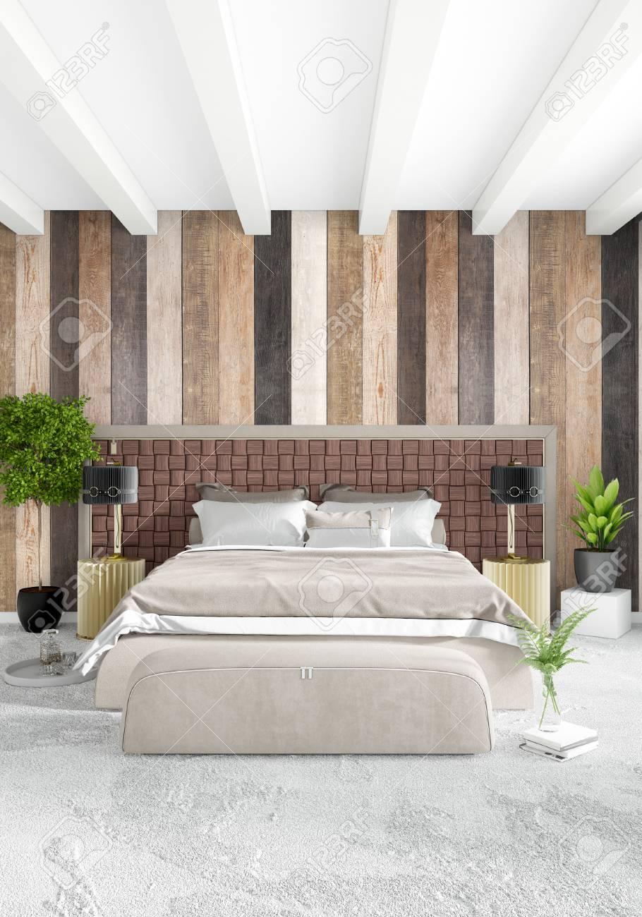 Style Minimal De Chambre Blanche Intérieur Moderne Ou Loft Design ...