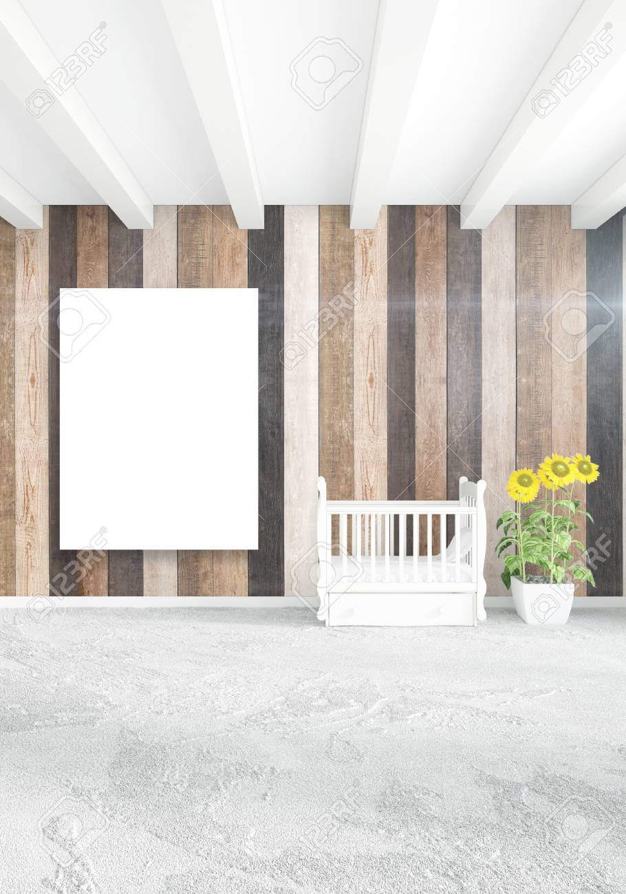 Chambre Blanche Design D\'intérieur Minimal Avec Mur En Bois Et ...