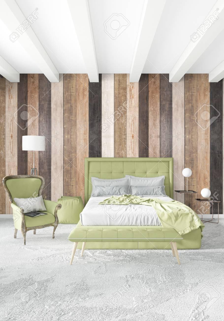 Chambre Blanche Et Bois chambre blanche style minimaliste design d'intérieur avec paroi en bois.  rendu 3d. illustration 3d