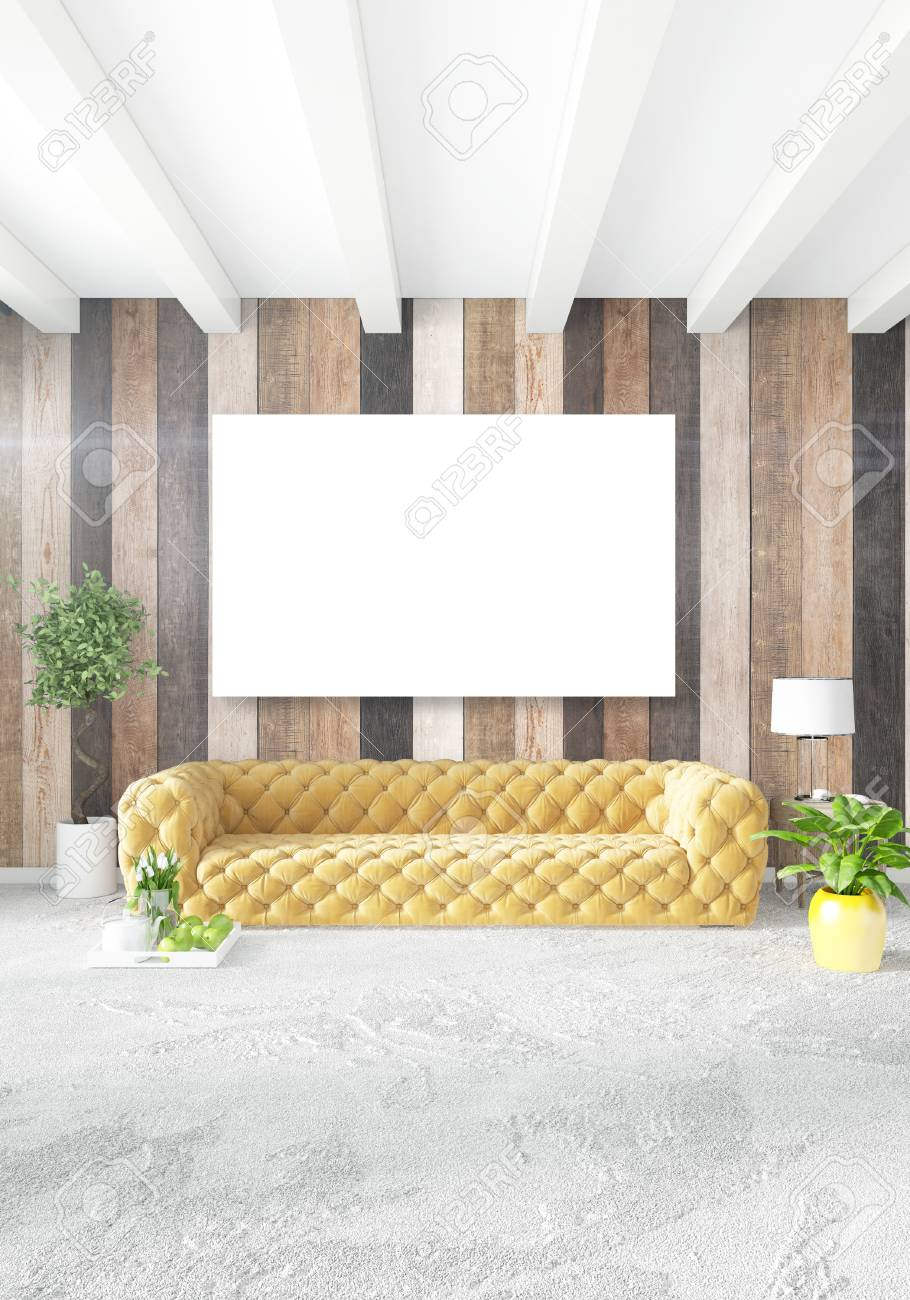 Minimal Bedroom Interior Design Wood Wall Yellow Sofa And Copyspace