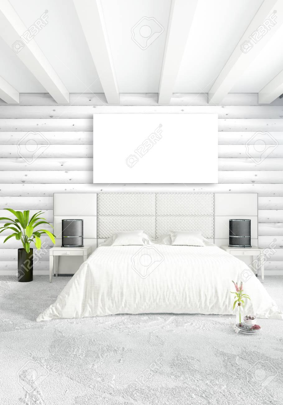 Chambre blanche design d\'intérieur minimal avec mur en bois et copyspace  dans un cadre vide. Rendu 3D. Illustration 3D