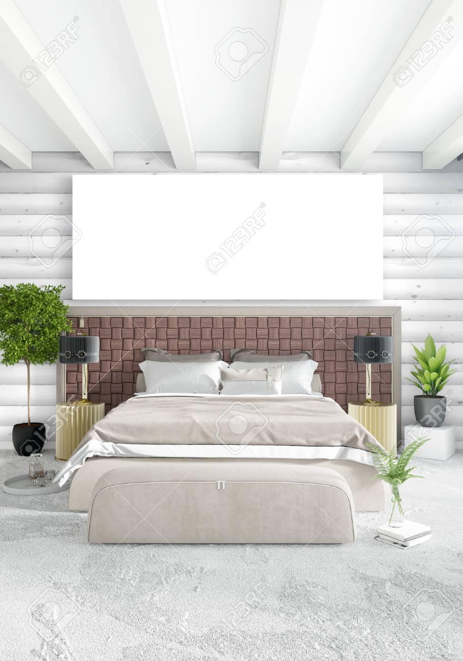 Weißes Schlafzimmer Minimal Interior Design Mit Holzwand Und ...