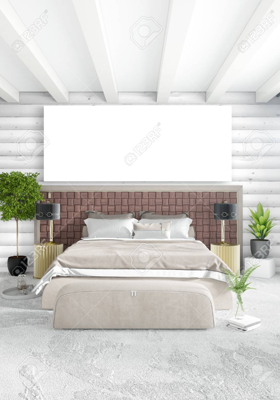 White Bedroom Minimal Interior Design With Wood Wall And Copyspace ...