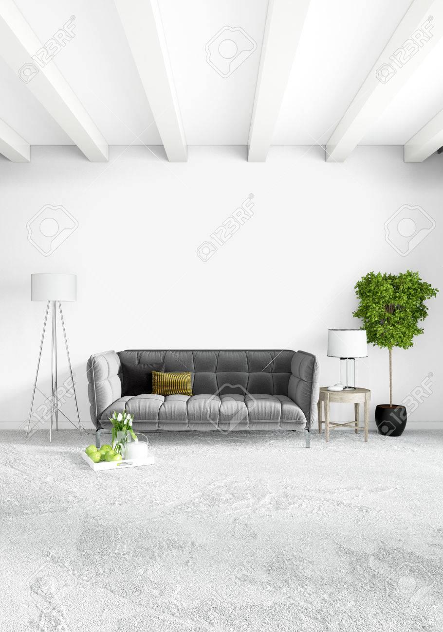moderna camera da letto o salotto in stile loft con parete ... - Camera Da Letto O