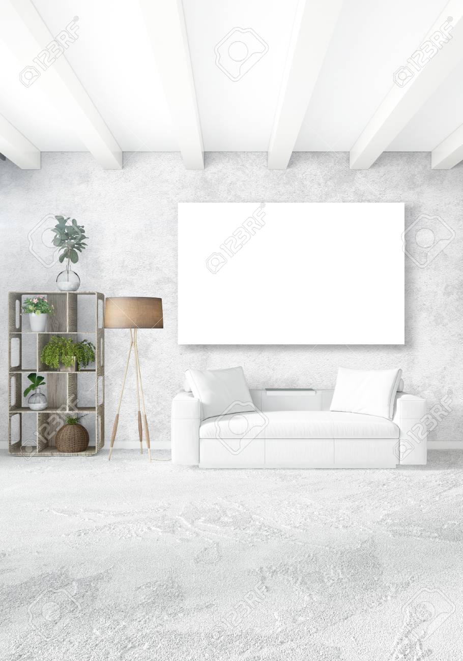 Verticale Moderne Binnenlandse Slaapkamer Of Woonkamer Met ...