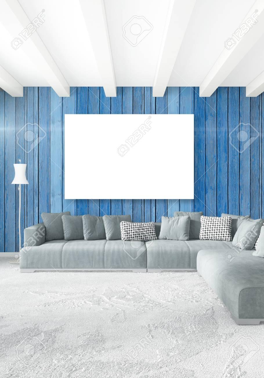 Moderna camera da letto moderna verticale o soggiorno con parete eclettica  e telaio vuoto per copyspace disegno. Rendering 3D