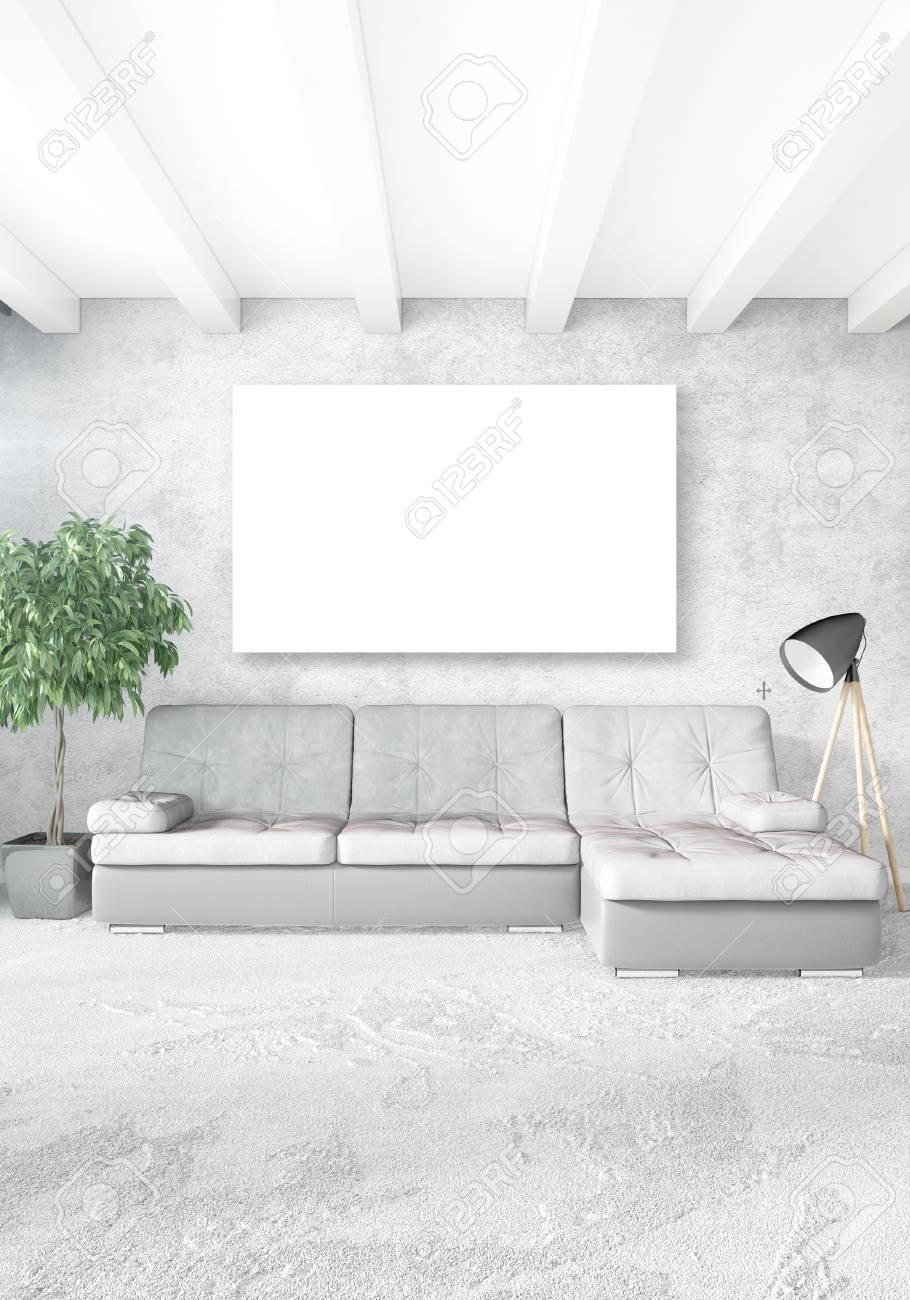 Standard Bild   Vertikales Modernes Innenschlafzimmer Oder Wohnzimmer Mit  Eklektischer Wand Und Leerem Rahmen Für Copyspace Zeichnen. 3D Rendering