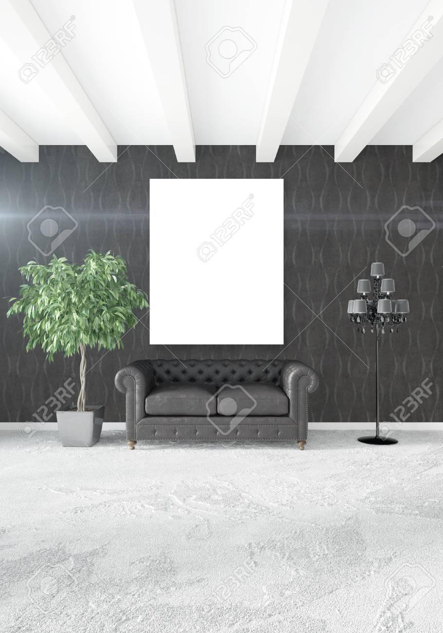 Vertical Interior Moderno Dormitorio O Sala De Estar Con Pared ...