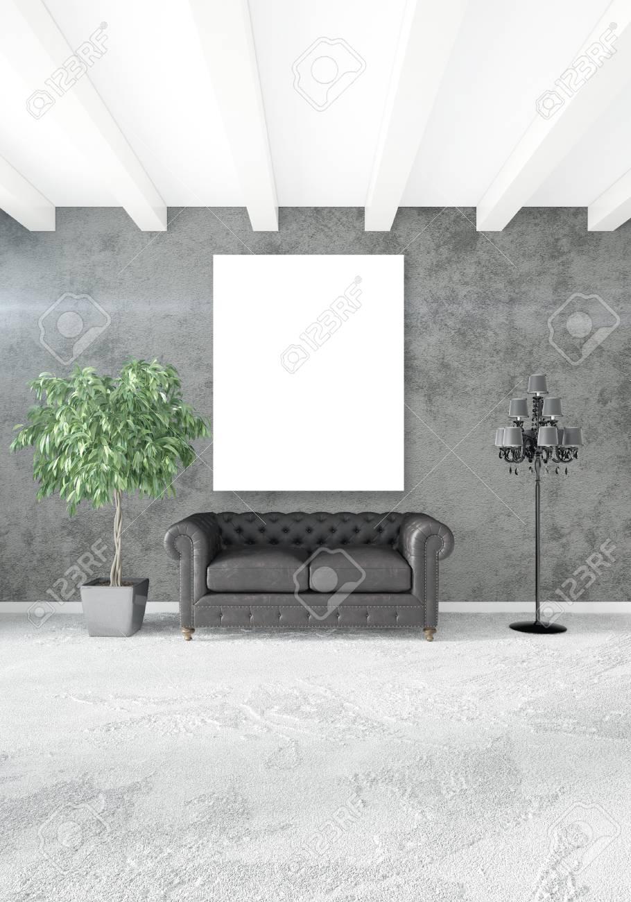 Ideen fur wohnzimmer 3d renderings  Vertikales Modernes Innenschlafzimmer Oder Wohnzimmer Mit ...