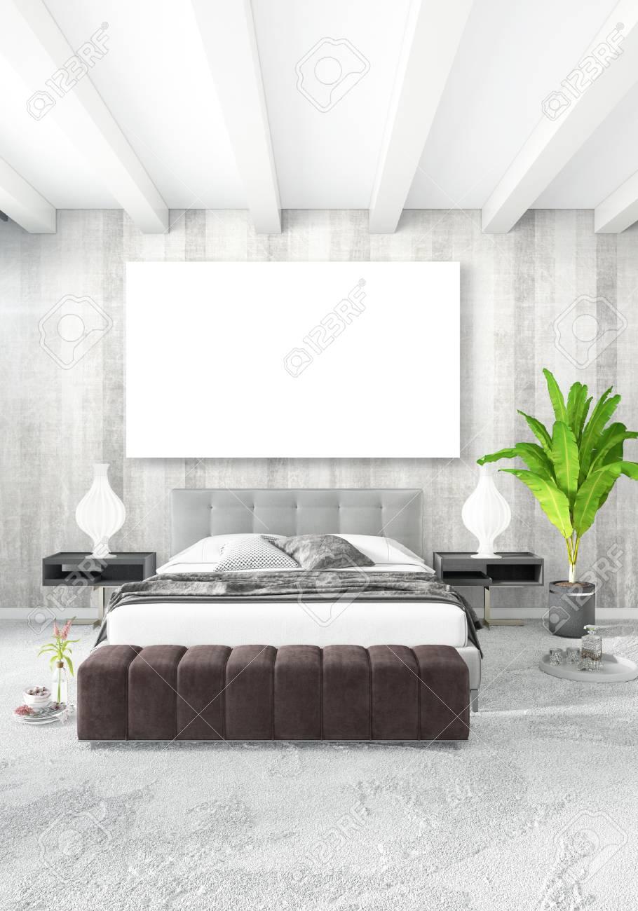 Standard Bild   Vertikale Schlafzimmer Minimal Oder Loft Stil Interior  Design. 3D Rendering Konzeptidee