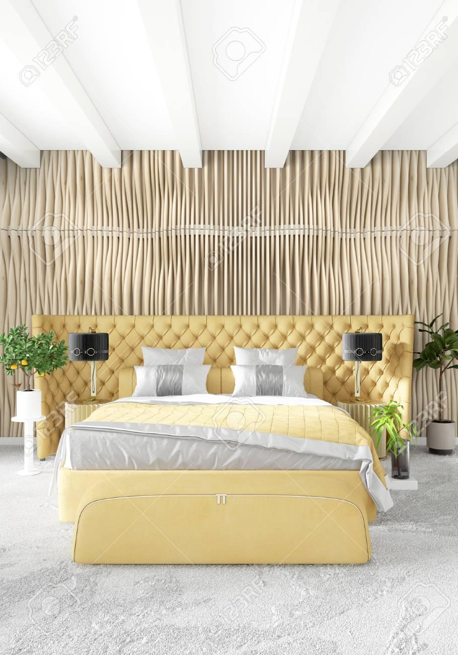 Standard Bild   Weißes Schlafzimmer Minimal Modern Oder Loft Stil Interior  Design. 3D Rendering 3D Abbildung