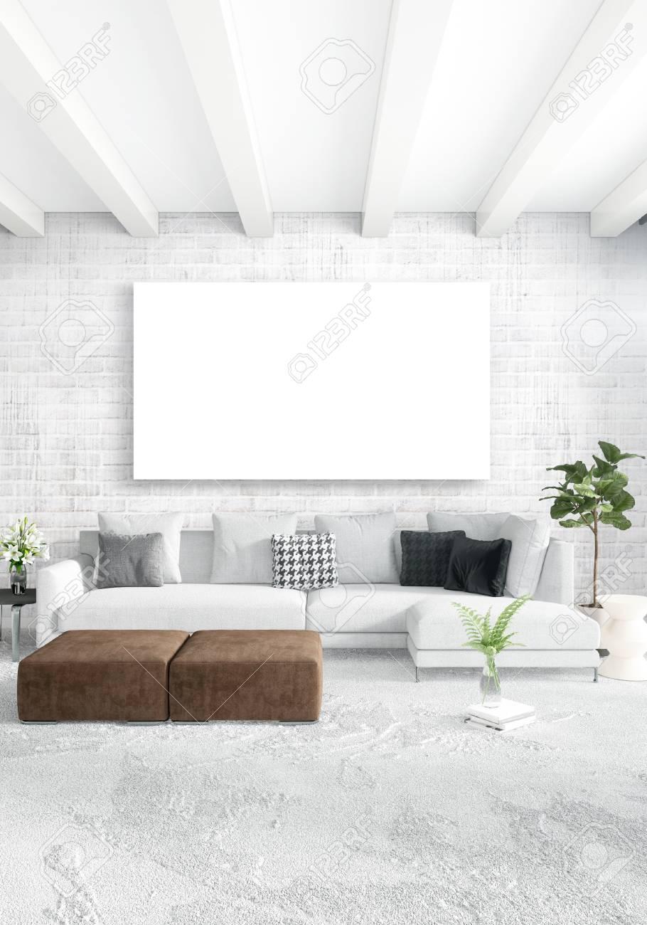 Schon Standard Bild Weißes Schlafzimmer Minimal Modern Oder Loft Stil  Interior Design. 3D Rendering 3D