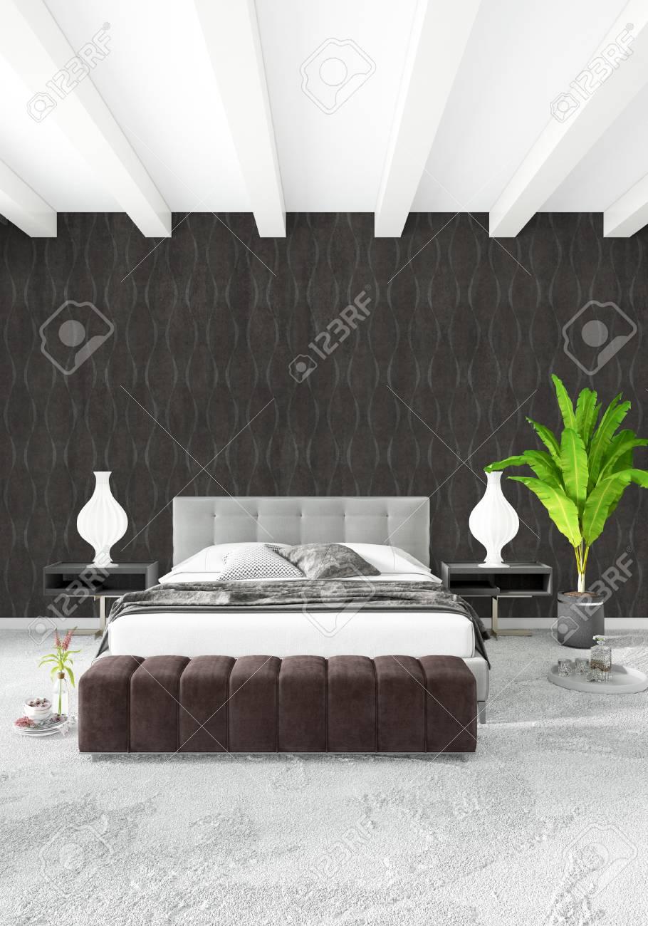 Design d\'intérieur de style minimaliste chambre blanche avec mur en bois et  canapé gris. Rendu 3D. Illustration 3D