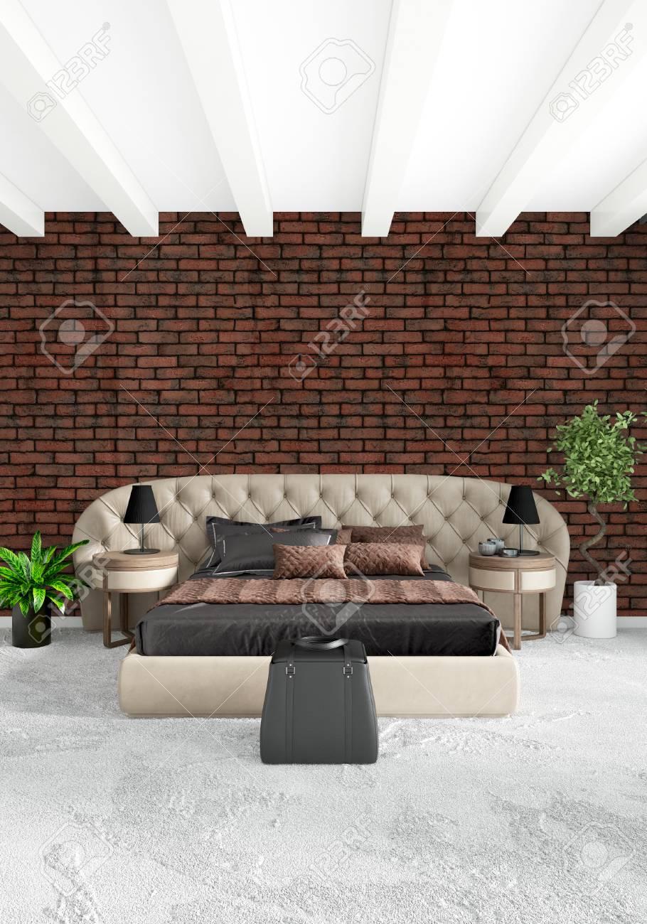 Standard Bild Weißes Schlafzimmer Minimal Modern Oder Loft Stil Interior  Interior . 3D Rendering 3D Abbildung