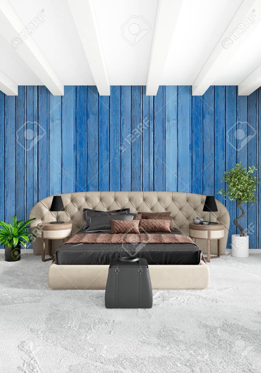 Standard Bild   Weißes Schlafzimmer, Minimalistischer Stil Innenarchitektur  Mit Holzwand Und Grauem Sofa. 3D Rendering 3D Abbildung