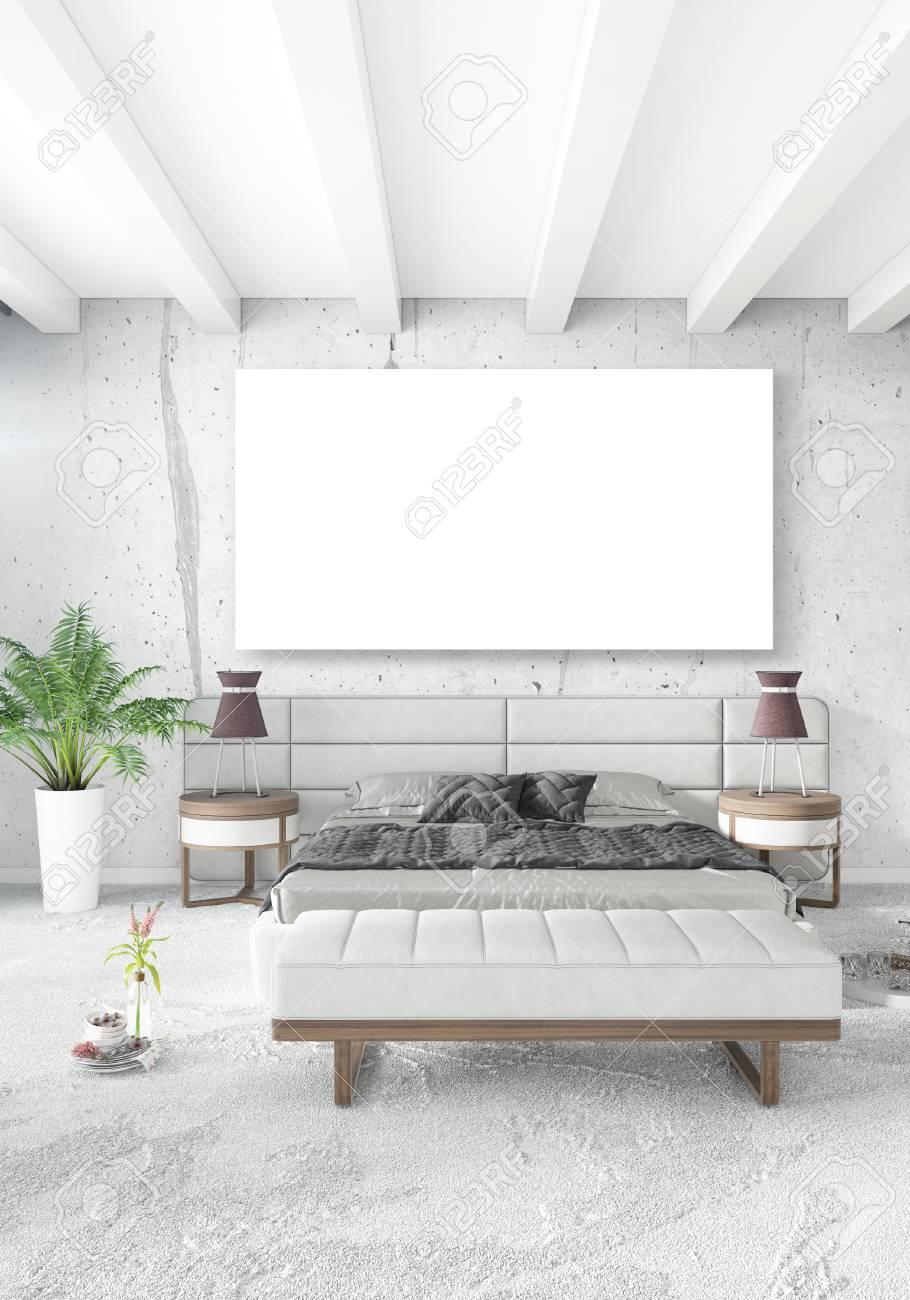 Weißes Schlafzimmer, Minimalistischer Stil Innenarchitektur Mit ...