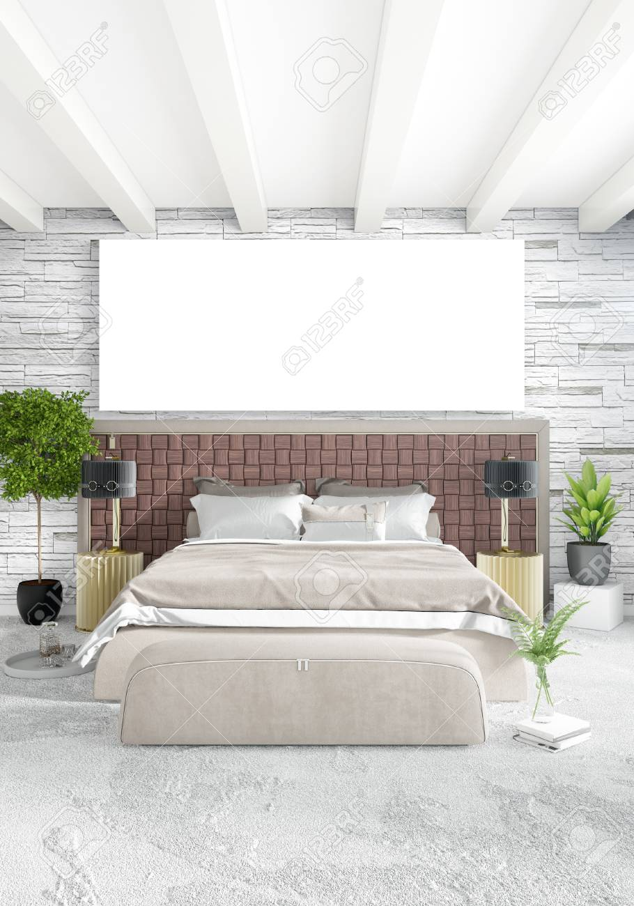Banque Du0027images   Chambre à Coucher Blanche Style Minimaliste Design  Du0027intérieur Avec Paroi En Bois Et Canapé Gris. Rendu 3D. Illustration 3D
