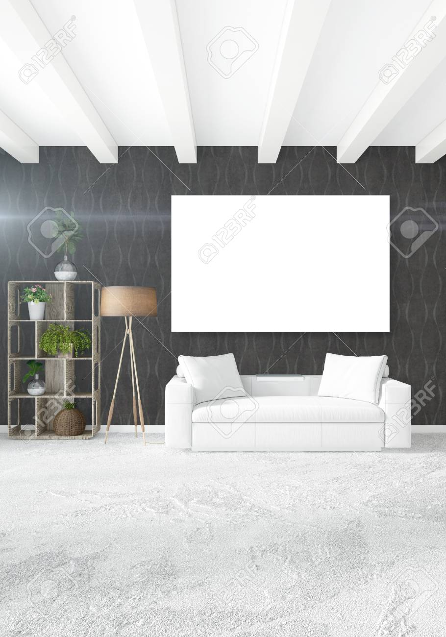 Witte Slaapkamer Minimale Stijl Binnenlands Ontwerp Met Houten Muur ...