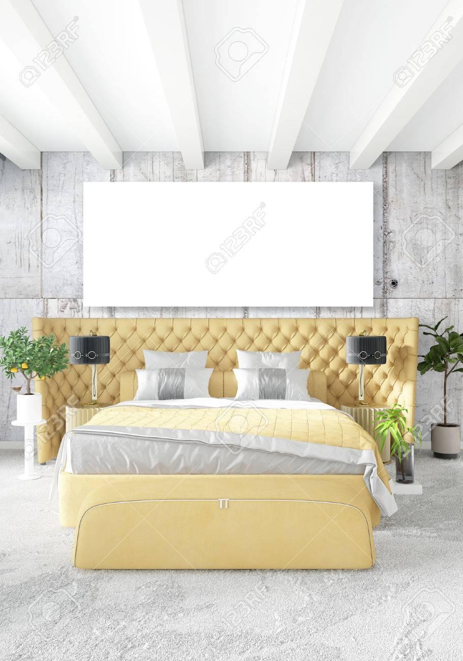 Banque Du0027images   Chambre Moderne Canapé Jaune Style Minimal De Luxe Design  Loft Intérieur Avec Un Mur éclectique. Rendu 3D.