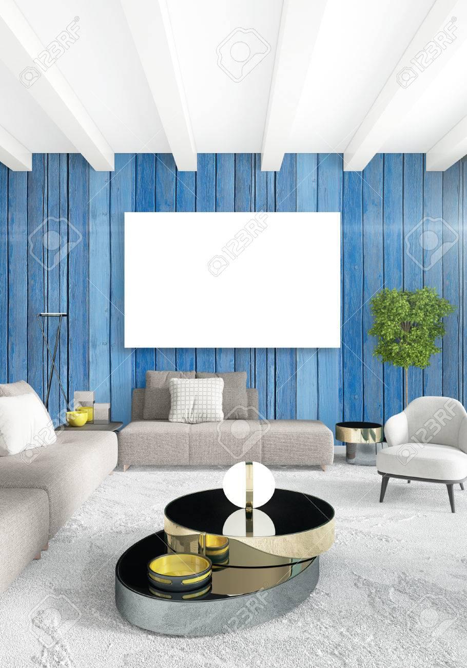 Weißes Schlafzimmer, Minimalistischer Stil Innenarchitektur Mit Holzwand  Und Grauem Sofa. 3D Rendering.