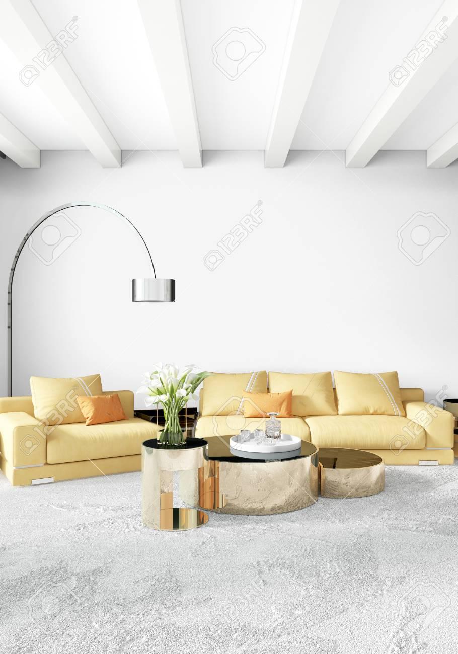 Modern Bedroom Yellow Sofa Luxury Minimal Style Interior Loft