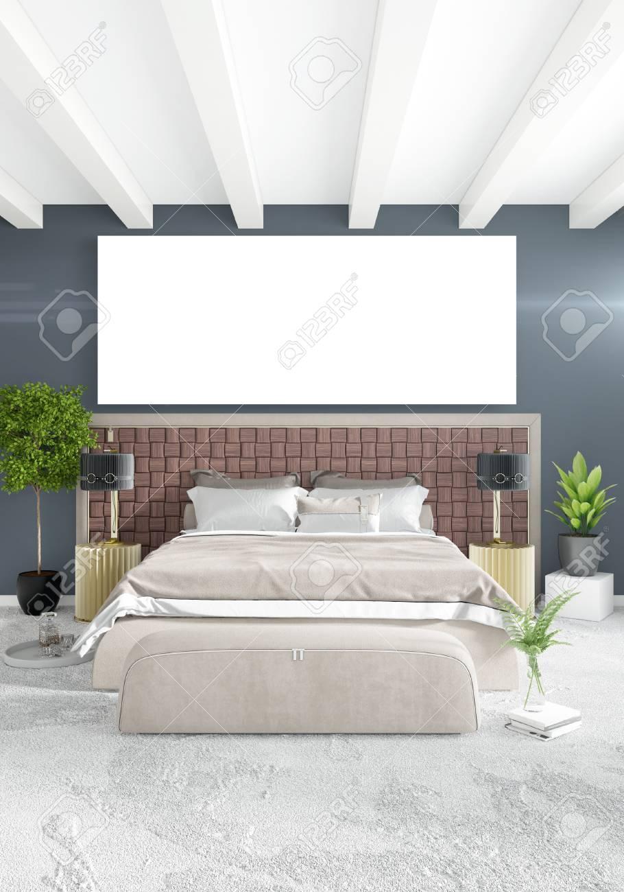 Chambre Blanche Et Bois style minimaliste de chambre blanche design loft intérieur avec mur en bois  et canapé gris. rendu 3d.