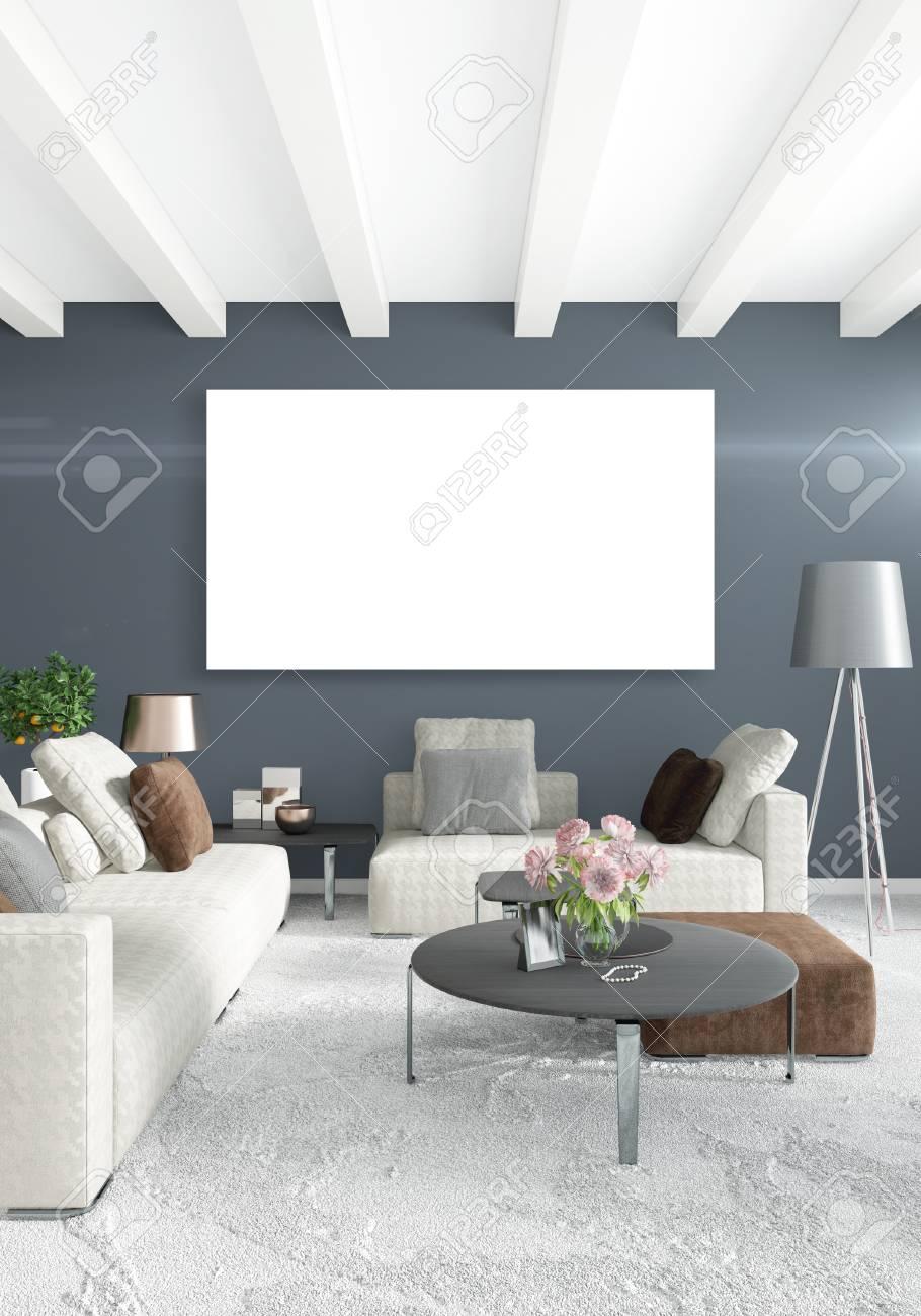 Design D\'intérieur De Style Minimaliste Chambre Blanche Avec Mur En ...