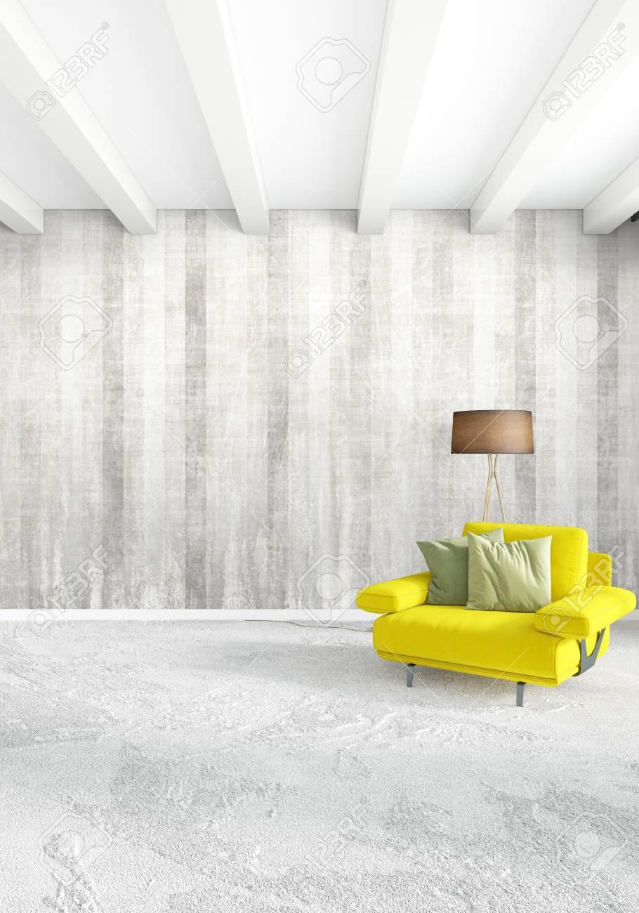 modernes schlafzimmer design, modernes schlafzimmer gelb sofa luxus minimalistischen stil interior, Design ideen