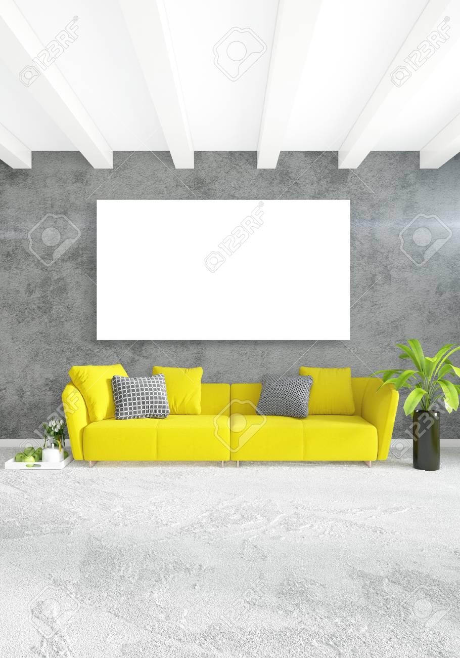 Camera da letto moderna divano giallo stile minimalista di lusso Design  interno dello loft con parete eclettica. Rendering 3D.