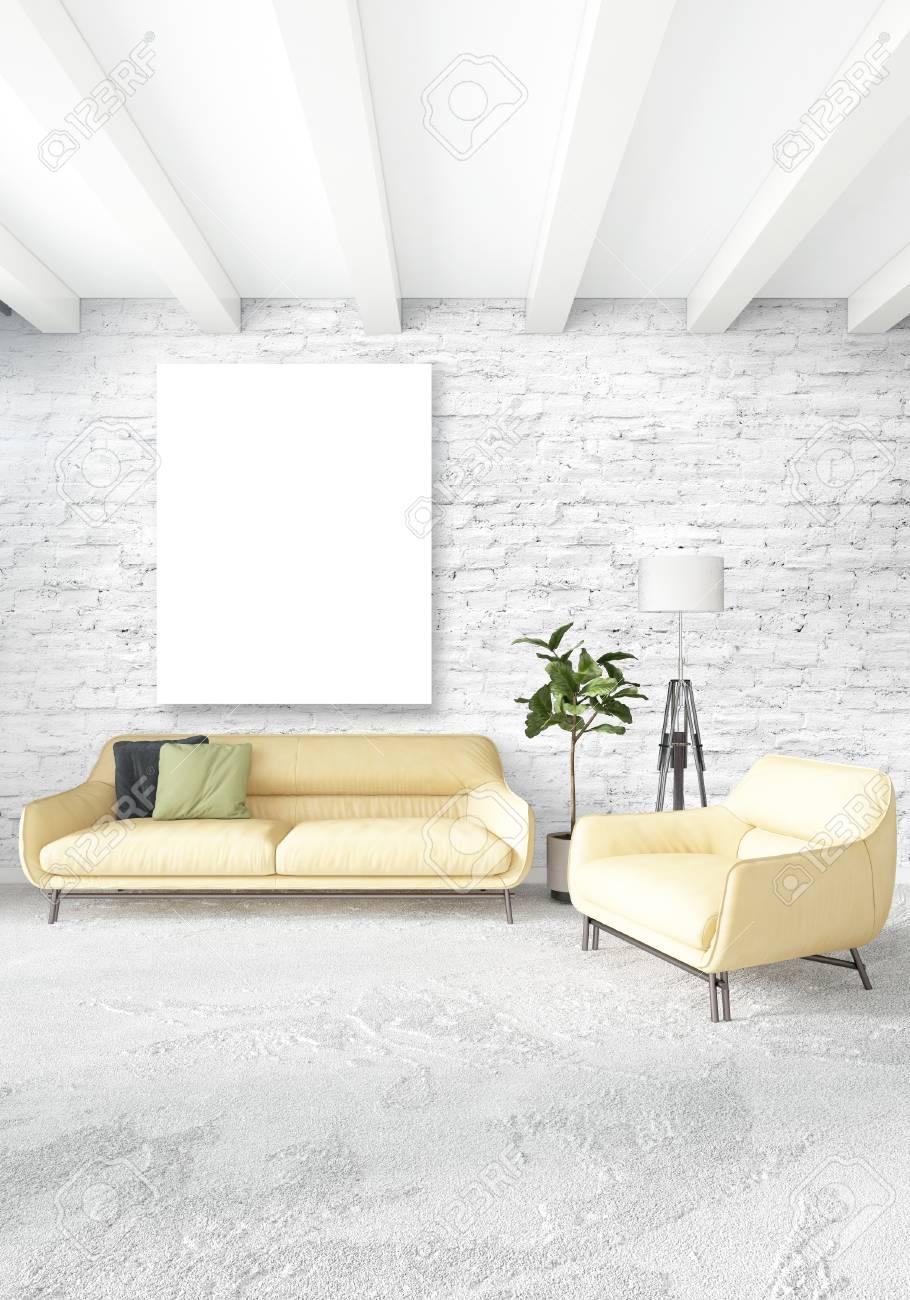 Chambre à Coucher Blanche Style Minimaliste Design D\'intérieur Avec ...