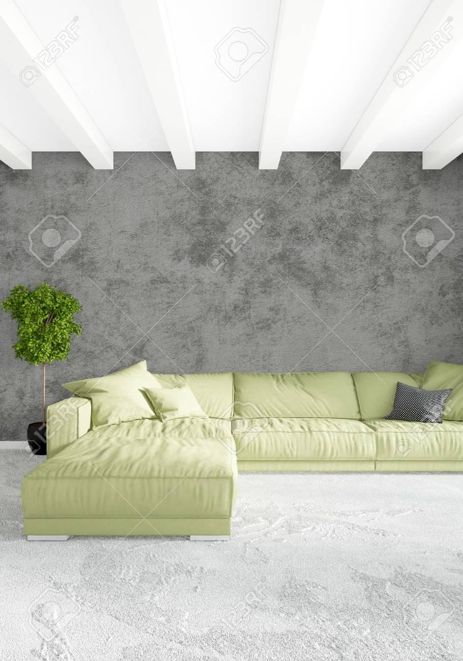 Chambre à coucher blanche style minimaliste Design d\'intérieur avec paroi  en bois et canapé gris. Rendu 3D.