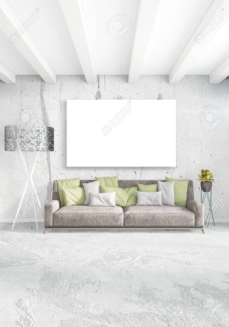 Chambre blanche intérieur style minimaliste avec mur de bois et gris  canapé. rendu 3d