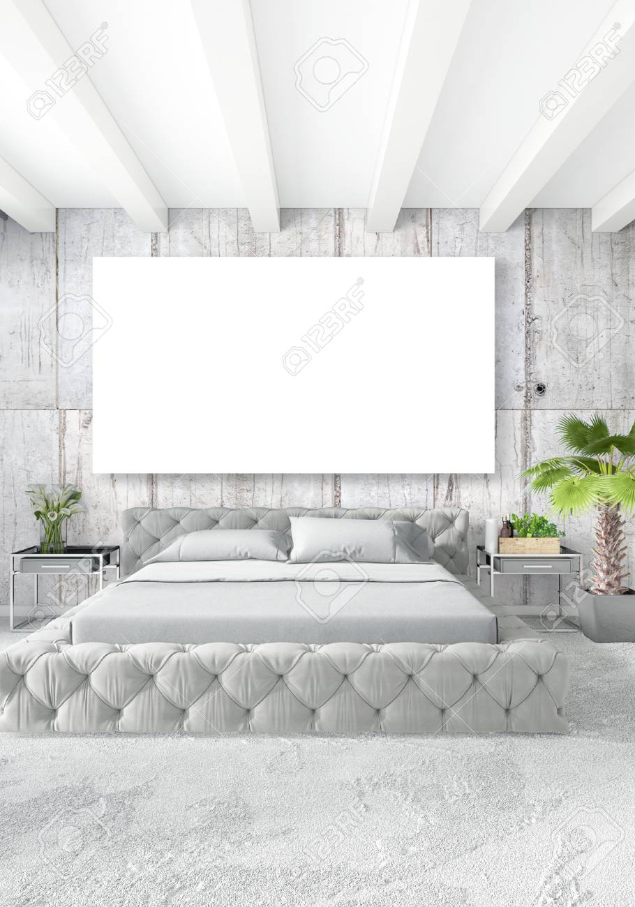 Style Minimaliste De Chambre Blanche Design Loft Intérieur Avec Mur ...