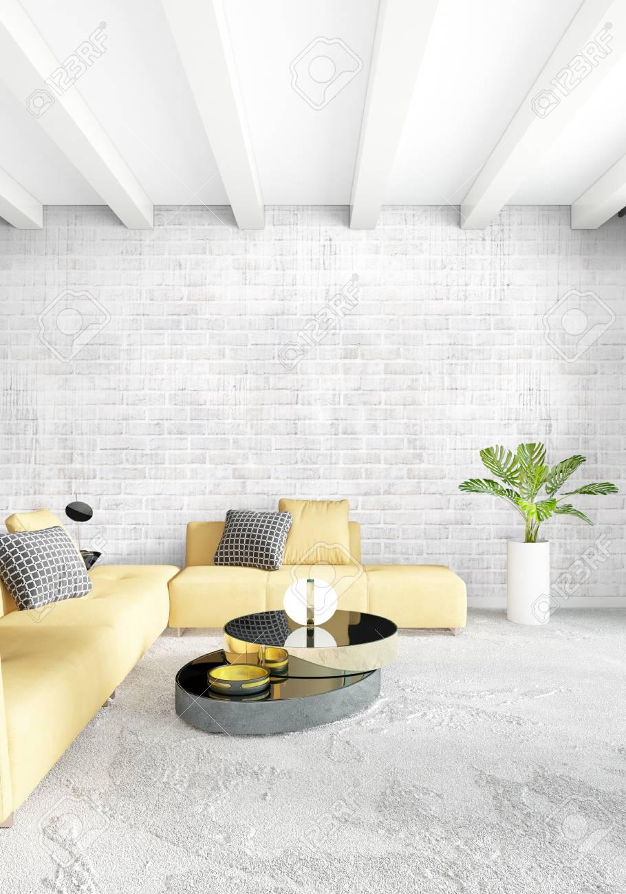 Chambre Moderne Canape Jaune Style Minimal De Luxe Design Loft