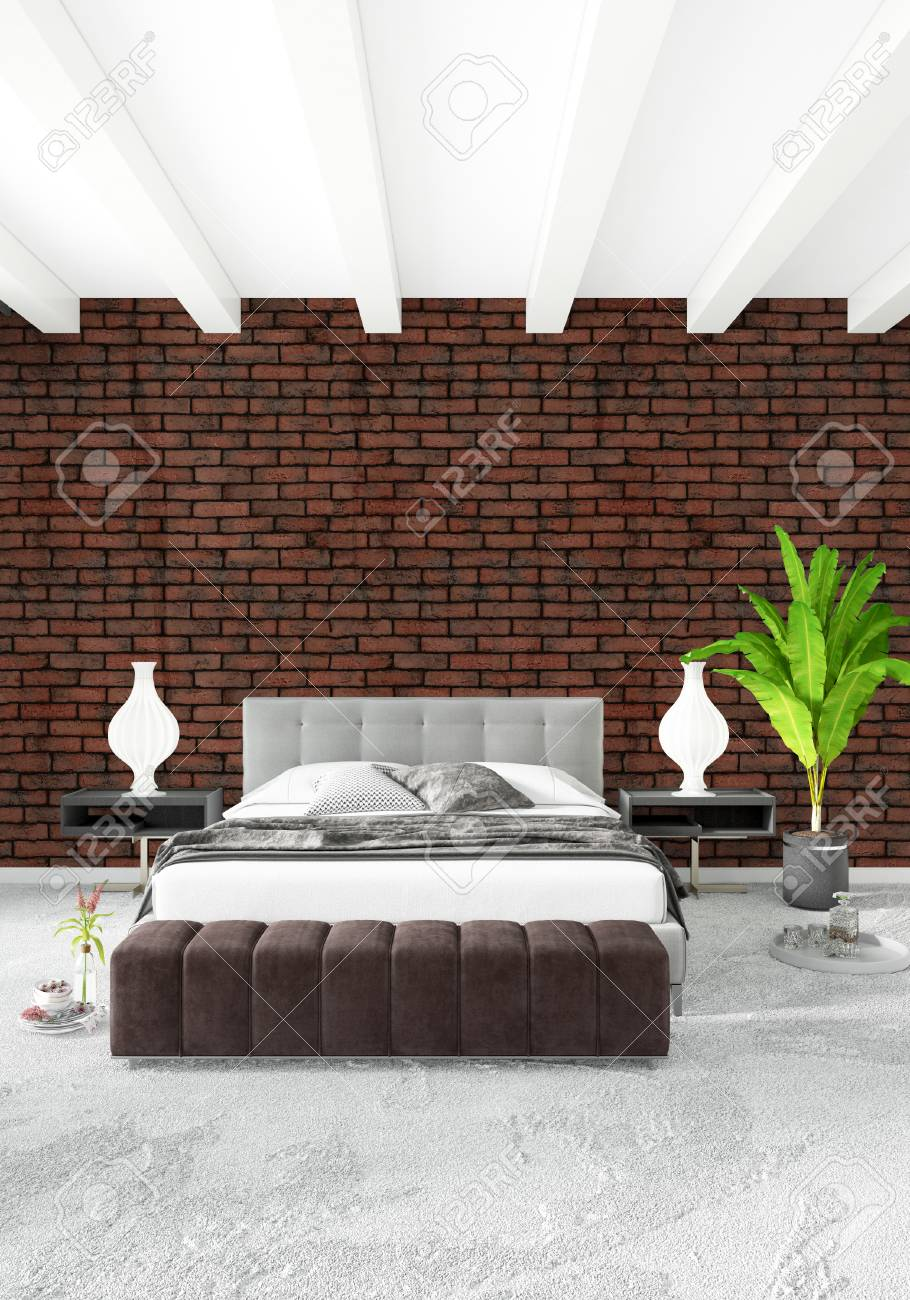 Banque Du0027images   Chambre à Coucher Blanche Style Minimaliste Design  Du0027intérieur Avec Paroi En Bois Et Canapé Gris. Rendu 3D.