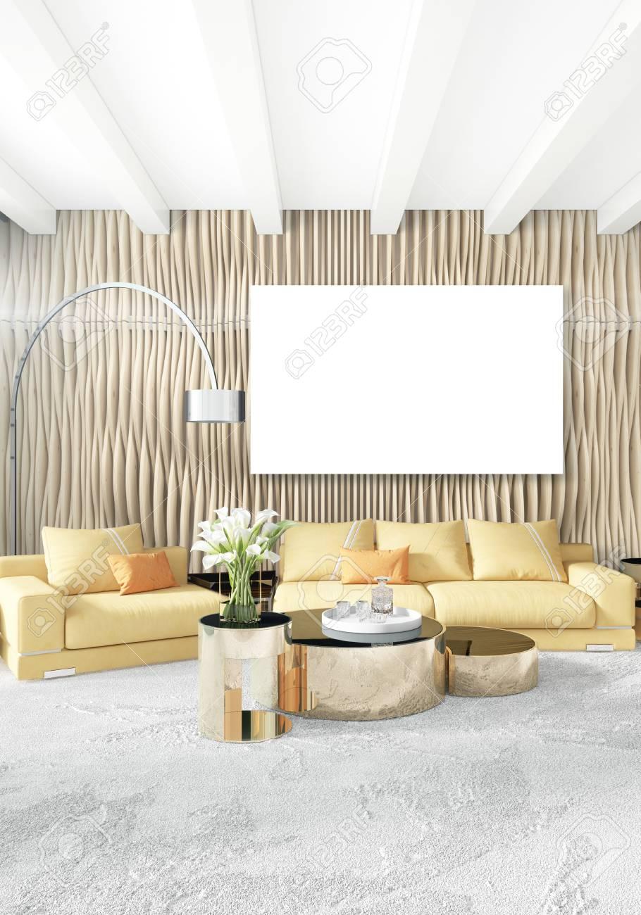 Weiße Schlafzimmer Oder Wohnzimmer Minimalistischen Interieur Mit ...