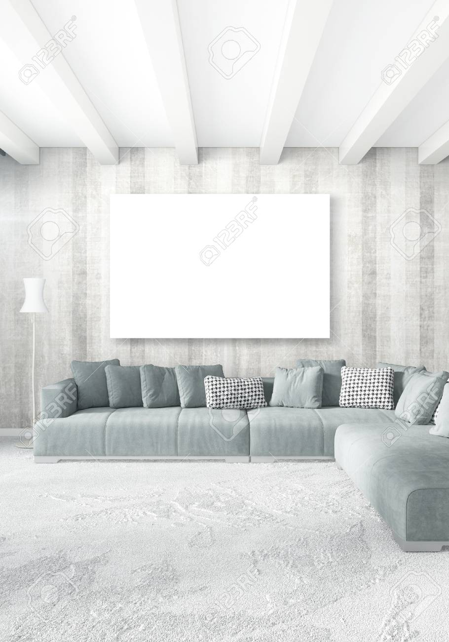 Stock photo white bedroom or livingroom minimal style interior design with stylish wall and sofa 3d rendering conept of show room