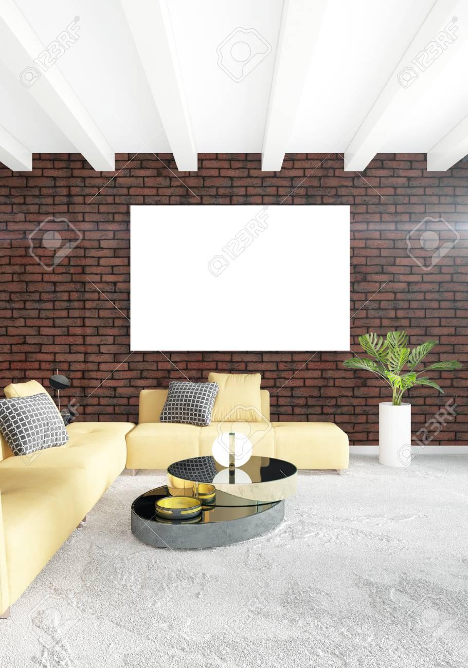 Fantastisch Gelbes Schlafzimmer Oder Wohnzimmer Im Modernen Stil Innenarchitektur Mit  Exsudierender Wand Und Stilvollen Möbeln. 3D