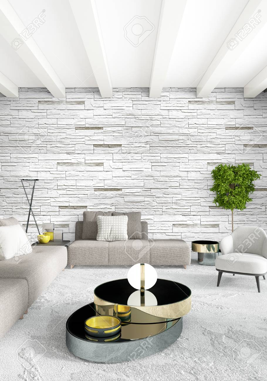 Loft Bedroom Or Living Room Minimal Style Interior Design With Eclectic  Wall And Stylish Sofa.
