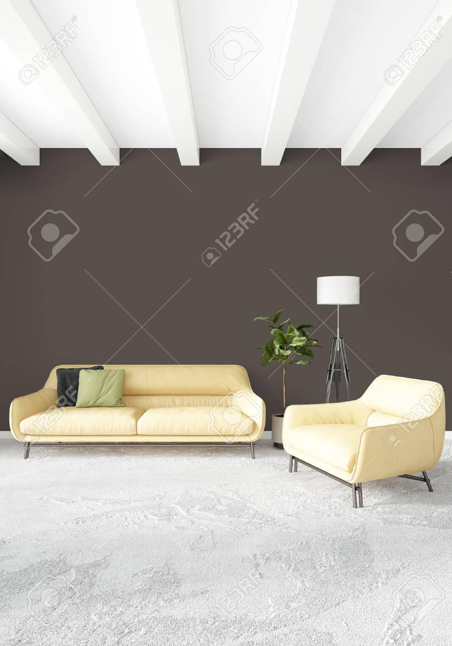 Loft Bedroom Or Living Room Minimal Style Interior Design