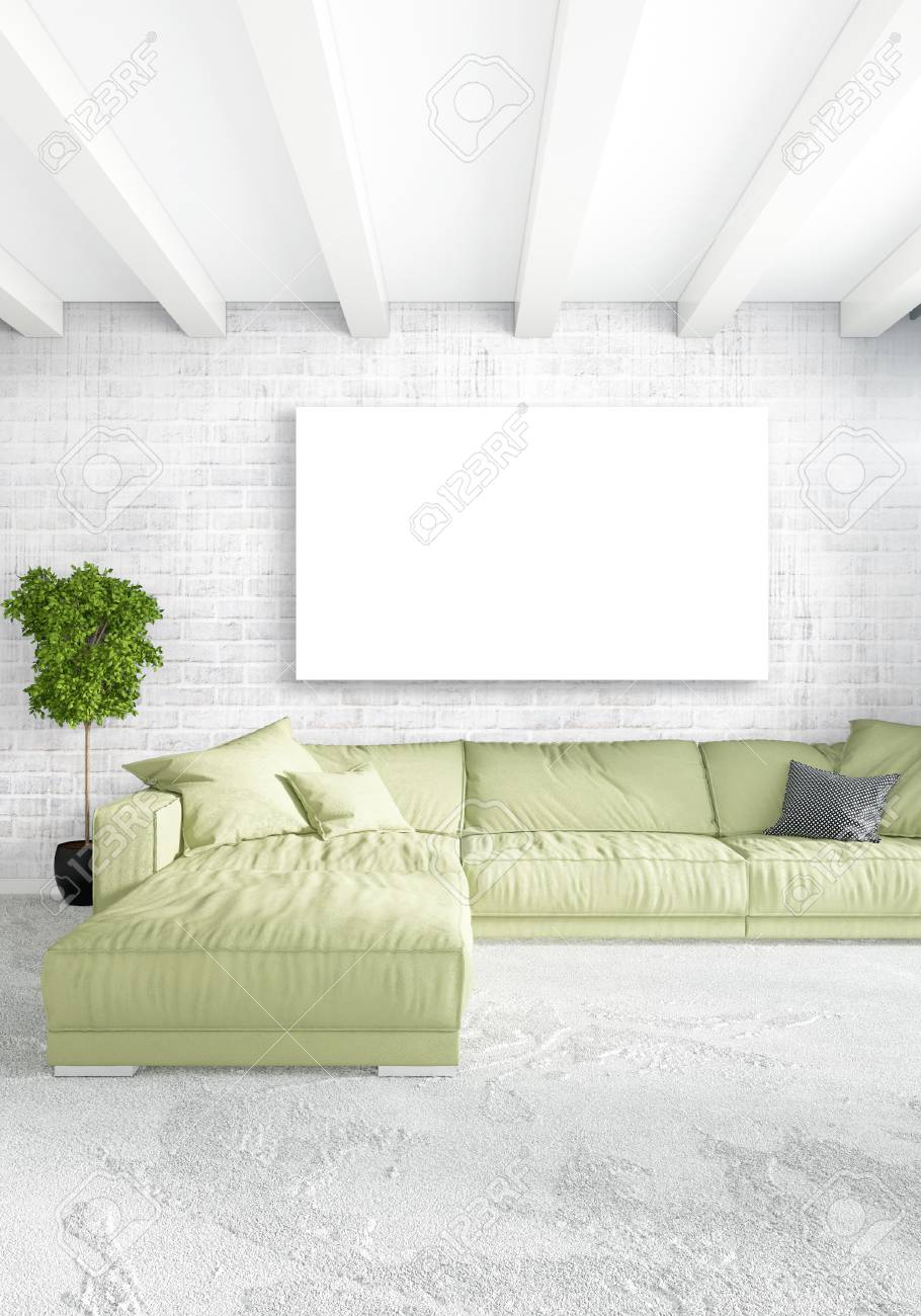 Loft Bedroom Or Living Room Minimal Style Interior Design With