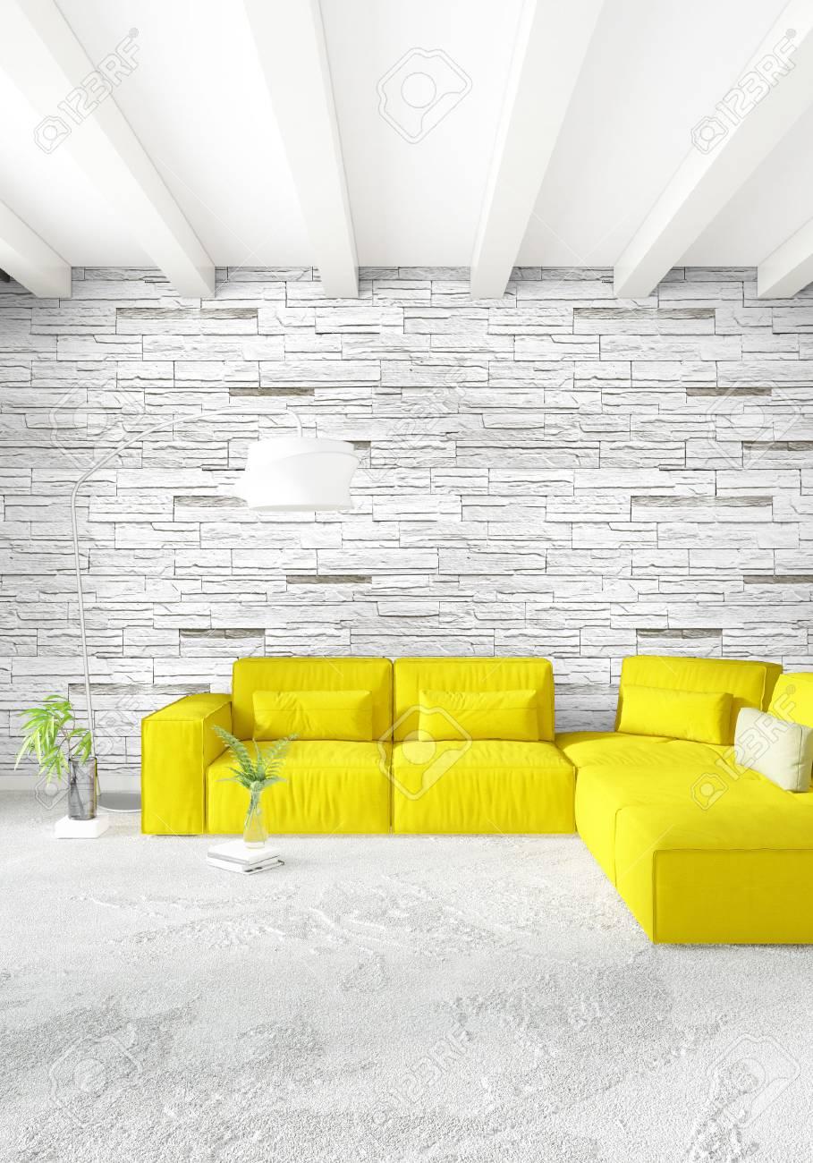 Chambre Loft Jaune Ou Salle De Séjour Dans Un Style Moderne Design D ...