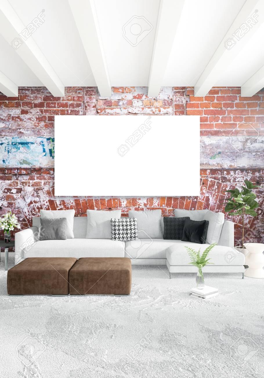 Camera da letto in stile loft in stile moderno con parete eclettica e  divano elegante. Rendering 3D.